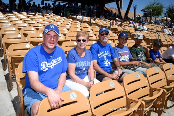 Great Los Angeles Dodgers fans during game against the San Diego Padres Sunday, March 20, 2016 at Camelback Ranch-Glendale in Phoenix, Arizona.