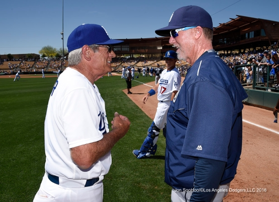 Los Angeles Dodgers Steve Yeager with Mark McGwire prior to game against the San Diego Padres Sunday, March 20, 2016 at Camelback Ranch-Glendale in Phoenix, Arizona.