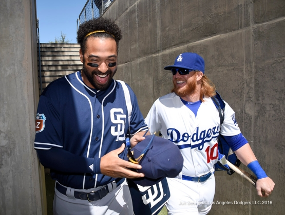 Los Angeles Dodgers Justin Turner with Matt Kemp prior to game against the San Diego Padres Sunday, March 20, 2016 at Camelback Ranch-Glendale in Phoenix, Arizona.