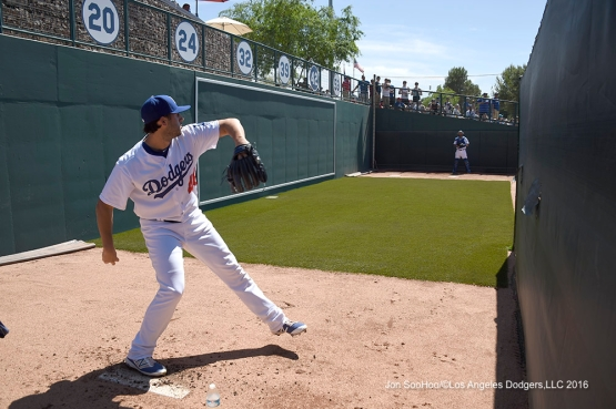 Los Angeles Dodgers Mike Bolsinger warms up prior to game against the San Diego Padres Sunday, March 20, 2016 at Camelback Ranch-Glendale in Phoenix, Arizona.