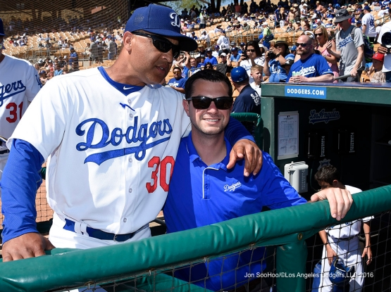 Los Angeles Dodgers Dave Roberts with PR ace Jon Chapper prior to game against the San Diego Padres Sunday, March 20, 2016 at Camelback Ranch-Glendale in Phoenix, Arizona.