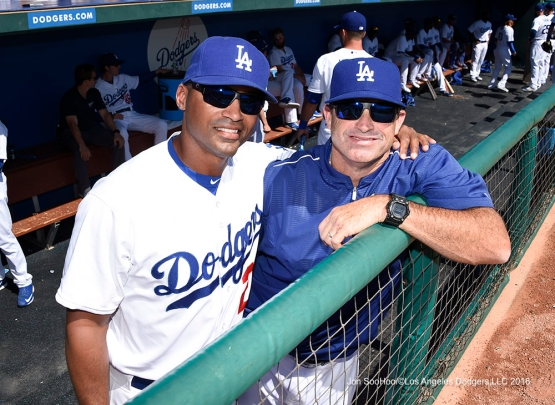 Los Angeles Dodgers George Lombard and Turner Ward pose during game against the San Diego Padres Sunday, March 20, 2016 at Camelback Ranch-Glendale in Phoenix, Arizona.