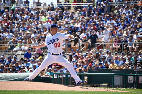 Los Angeles Dodgers Jeremy Kehrt during game against the San Diego Padres Sunday, March 20, 2016 at Camelback Ranch-Glendale in Phoenix, Arizona.