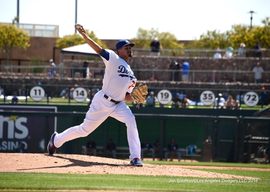 Los Angeles Dodgers Carlos Frias during game against the San Diego Padres Sunday, March 20, 2016 at Camelback Ranch-Glendale in Phoenix, Arizona.