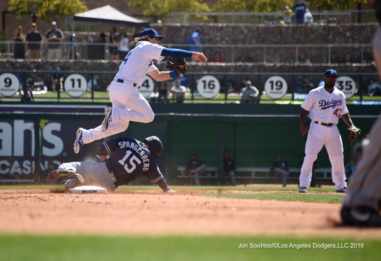 Los Angeles Dodgers Kike Hernandez turns two during game against the San Diego Padres Sunday, March 20, 2016 at Camelback Ranch-Glendale in Phoenix, Arizona.