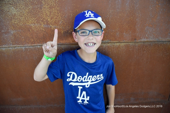 Great Los Angeles Dodgers fan during game against the San Diego Padres Sunday, March 20, 2016 at Camelback Ranch-Glendale in Phoenix, Arizona.