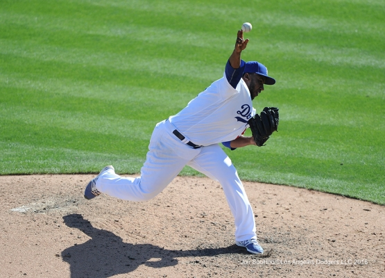 Los Angeles Dodgers Pedro Baez pitches during game against the San Diego Padres Sunday, March 20, 2016 at Camelback Ranch-Glendale in Phoenix, Arizona.
