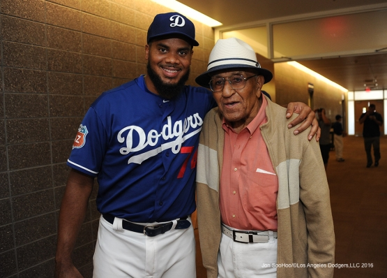 Los Angeles Dodgers Kenley Jansen with Don Newcombe prior to game against the San Francisco Giants Friday, March 25, 2016 at Camelback Ranch-Glendale in Phoenix, Arizona