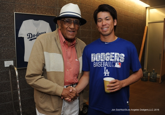 Los Angeles Dodgers Kenta Maeda with Don Newcombe prior to game against the San Francisco Giants Friday, March 25, 2016 at Camelback Ranch-Glendale in Phoenix, Arizona