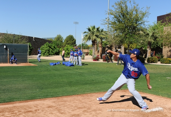 Hyun-jin Ryu during workout Friday, March 18, 2016 at Camelback Ranch-Glendale in Phoenix, Arizona.