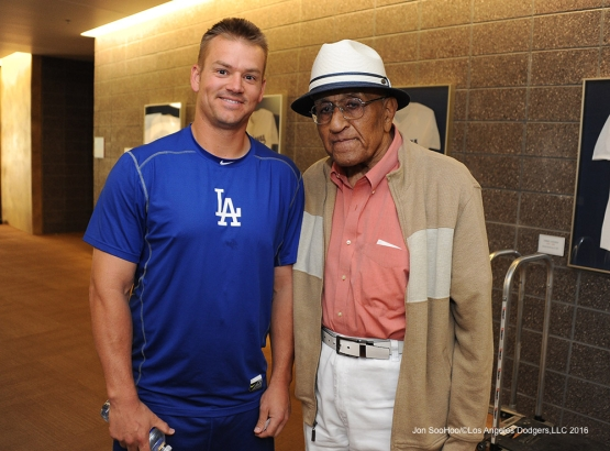 Los Angeles Dodgers Joe Blanton with Don Newcombe prior to game against the San Francisco Giants Friday, March 25, 2016 at Camelback Ranch-Glendale in Phoenix, Arizona