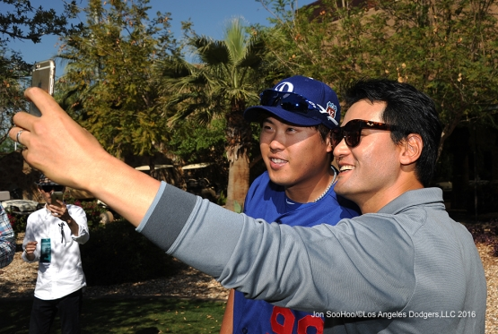Chan Ho Park with Hyun-jin Ryu pose during workout Friday, March 18, 2016 at Camelback Ranch-Glendale in Phoenix, Arizona.