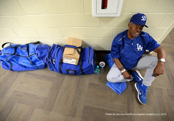 Los Angeles Dodgers Manny Mota prior to game against the Texas Rangers Friday, March 4, 2016 at Surprise Recreation Campus in Surprise, Arizona.