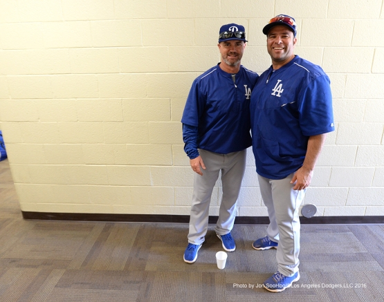 Los Angeles Dodgers Travis Barbury and Shawn Wooten prior to game against the Texas Rangers Friday, March 4, 2016 at Surprise Recreation Campus in Surprise, Arizona.