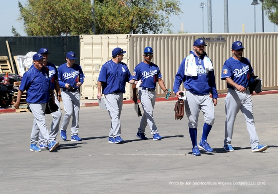 Los Angeles Dodgers coaches arrive to game against the Texas Rangers Friday, March 4, 2016 at Surprise Recreation Campus in Surprise, Arizona.