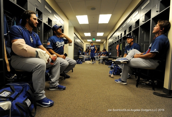 Los Angeles Dodgers in the clubhouse prior to game against the Arizona Diamondback Friday, March 18,2016 at Salt River Fields at Talking Stick