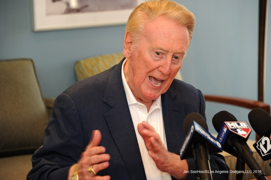 Los Angeles Dodgers Vin Scully speaks to the media prior to game against the San Francisco Giants Friday, March 25, 2016 at Camelback Ranch-Glendale in Phoenix, Arizona