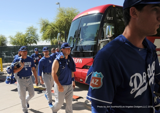Los Angeles Dodgers arrive to game against the Texas Rangers Friday, March 4, 2016 at Surprise Recreation Campus in Surprise, Arizona.