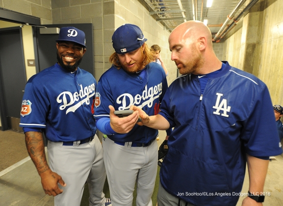 Los Angeles Dodgers Howie Kendrick, Justin Turner and Brandon McDaniel prior to game against the Arizona Diamondback Friday, March 18,2016 at Salt River Fields at Talking Stick
