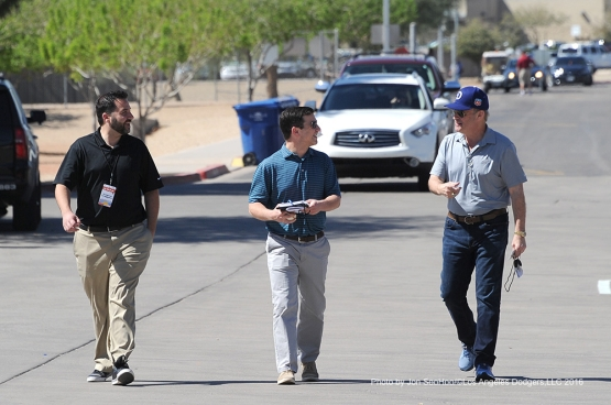 Los Angeles Dodgers Alex Anthopoulas, Andrew Friedman and Stan Kasten prior to game against the Texas Rangers Friday, March 4, 2016 at Surprise Recreation Campus in Surprise, Arizona.
