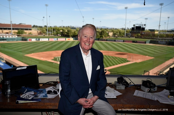 Los Angeles Dodgers Vin Scully poses prior to game against the San Francisco Giants Friday, March 25, 2016 at Camelback Ranch-Glendale in Phoenix, Arizona