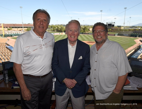 Los Angeles Dodgers Rick Monday, Vin Scully and Charley Steiner pose prior to game against the San Francisco Giants Friday, March 25, 2016 at Camelback Ranch-Glendale in Phoenix, Arizona