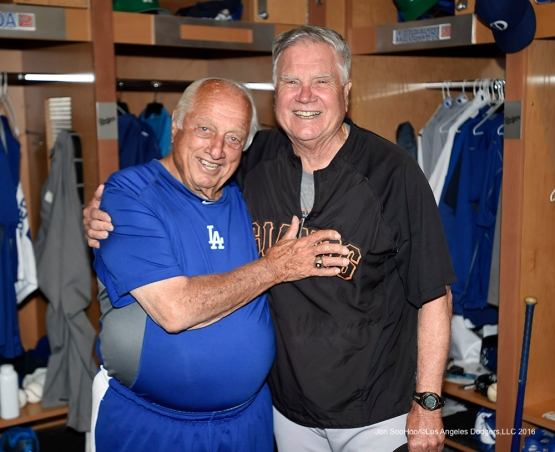 Los Angeles Dodgers Tommy Lasorda with Joey Amalfitano prior to game against the San Francisco Giants Friday, March 25, 2016 at Camelback Ranch-Glendale in Phoenix, Arizona