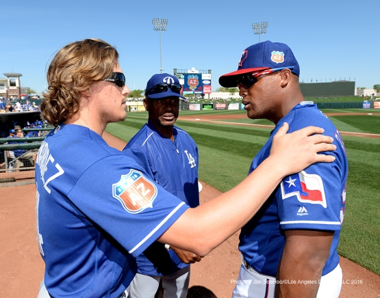 Los Angeles Dodgers Kike Hernandez, Manny Mota and Texas Rangers Adrian Beltre pregame Friday, March 4, 2016 at Surprise Recreation Campus in Surprise, Arizona.