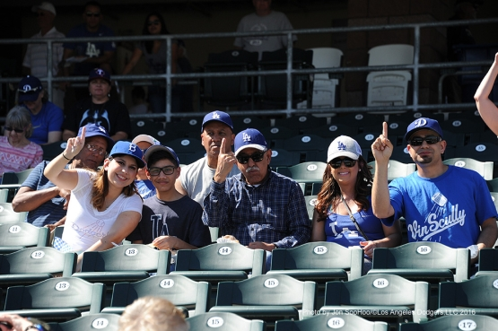 GREAT Los Angeles Dodgers fans at the game against the Texas Rangers Friday, March 4, 2016 at Surprise Recreation Campus in Surprise, Arizona.