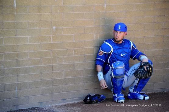 Los Angeles Dodgers Yasmani Grandal prior to game against the Arizona Diamondback Friday, March 18,2016 at Salt River Fields at Talking Stick