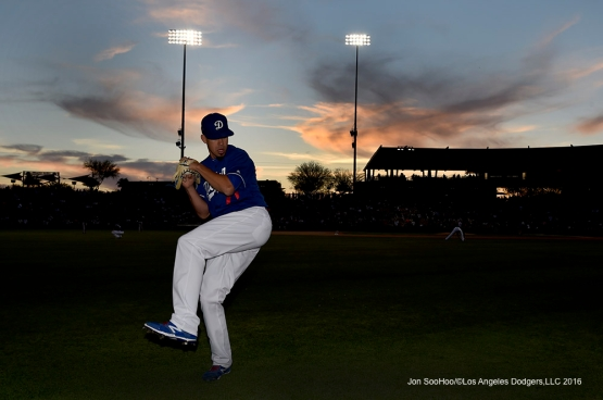 Los Angeles Dodgers Carlos Frias prior to game against the San Francisco Giants Friday, March 25, 2016 at Camelback Ranch-Glendale in Phoenix, Arizona