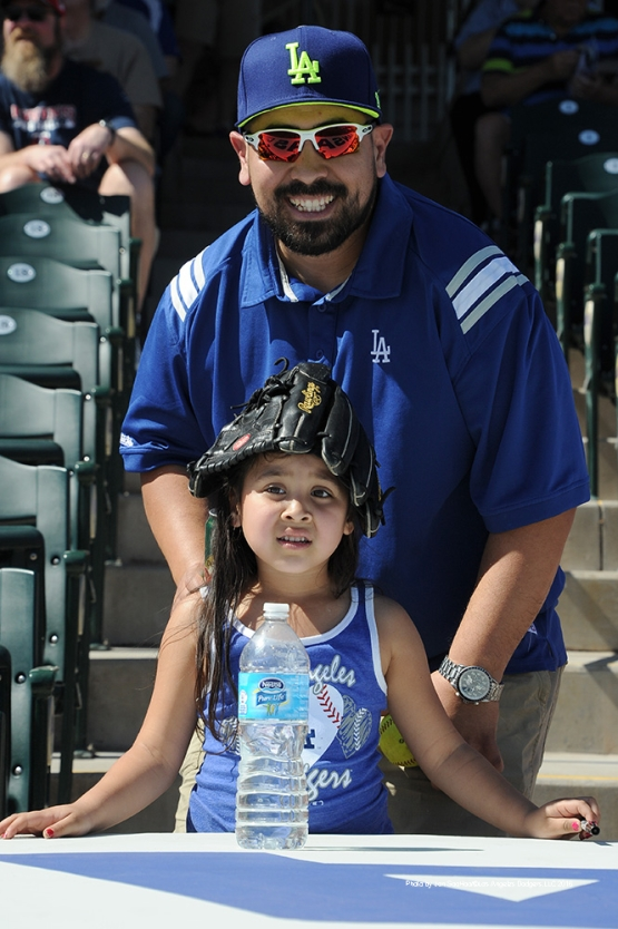 GREAT Los Angeles Dodgers fans prior to game against the Texas Rangers Friday, March 4, 2016 at Surprise Recreation Campus in Surprise, Arizona.
