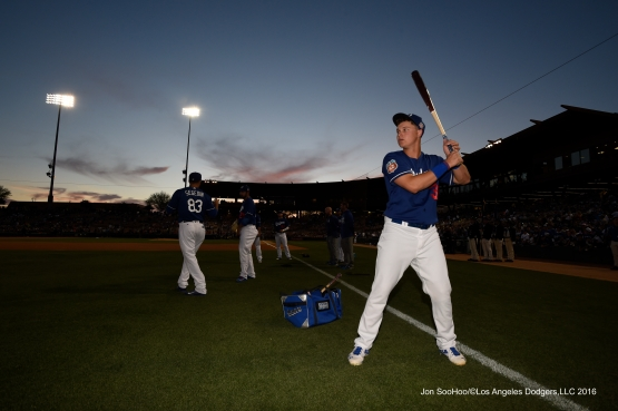 Los Angeles Dodgers Joc Pederson prior to game against the San Francisco Giants Friday, March 25, 2016 at Camelback Ranch-Glendale in Phoenix, Arizona