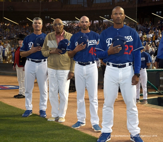 Los Angeles Dodgers Don Newcombe joins coaches Bob Geren, Chris Woodward and George Lombard prior to game against the San Francisco Giants Friday, March 25, 2016 at Camelback Ranch-Glendale in Phoenix, Arizona
