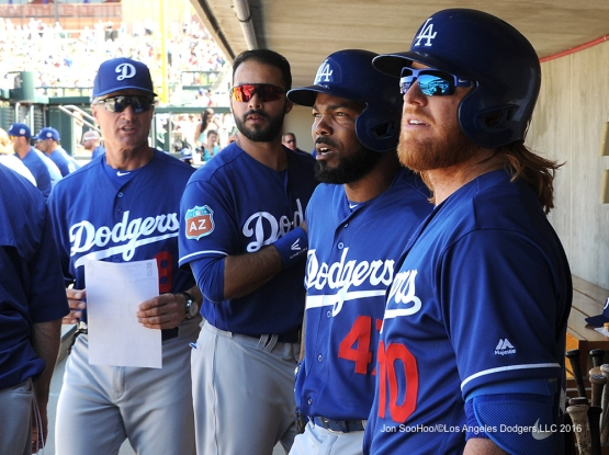 Los Angeles Dodgers Bob Geren, Andre Ethier, Howie Kendrick and Justin Turner during game against the Arizona Diamondback Friday, March 18,2016 at Salt River Fields at Talking Stick