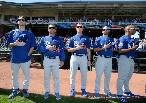 Former Los Angeles Dodger Shawn Green joins the coaches prior to game against the Texas Rangers Friday, March 4, 2016 at Surprise Recreation Campus in Surprise, Arizona.