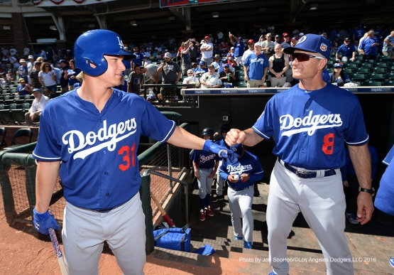 Los Angeles Dodgers Joc Pederson and bench coach Bob Geren prior to game against the Texas Rangers Friday, March 4, 2016 at Surprise Recreation Campus in Surprise, Arizona.