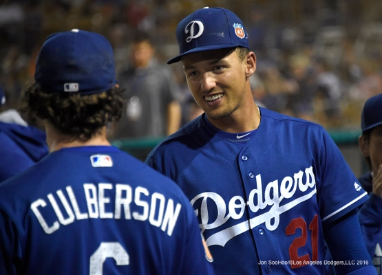 Los Angeles Dodgers Trayce Thompson during game against the San Francisco Giants Friday, March 25, 2016 at Camelback Ranch-Glendale in Phoenix, Arizona