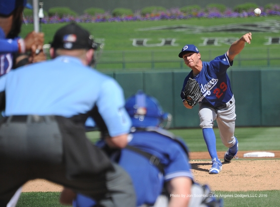 Los Angeles Dodgers Scott Kazmir pitches against the Texas Rangers Friday, March 4, 2016 at Surprise Recreation Campus in Surprise, Arizona.