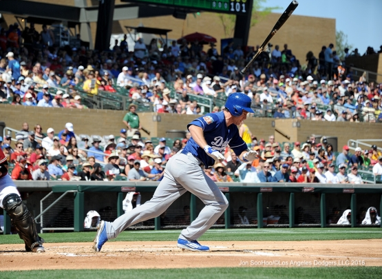 Los Angeles Dodgers Chase Utley during game against the Arizona Diamondback Friday, March 18,2016 at Salt River Fields at Talking Stick