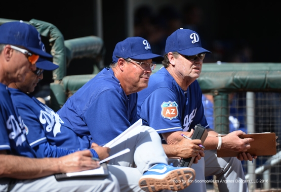 Los Angeles Dodgers coaches Greg Maddux and Rick Honeycutt during game against the Texas Rangers Friday, March 4, 2016 at Surprise Recreation Campus in Surprise, Arizona.