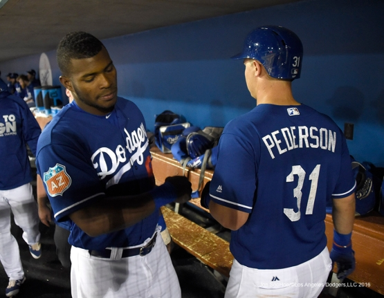 Los Angeles Dodgers Yasiel Puig and Joc Pederson during game against the San Francisco Giants Friday, March 25, 2016 at Camelback Ranch-Glendale in Phoenix, Arizona