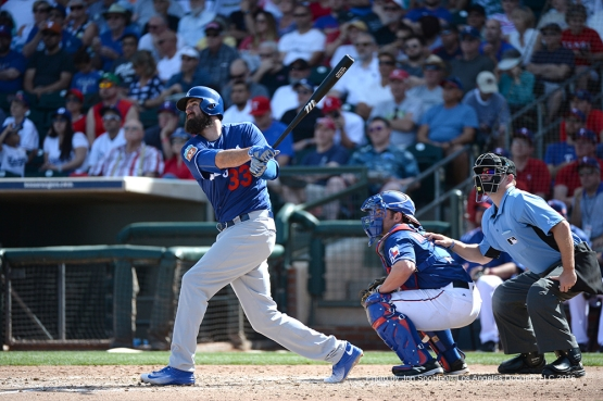 Los Angeles Dodgers Scott Van Slyke homers against the Texas Rangers Friday, March 4, 2016 at Surprise Recreation Campus in Surprise, Arizona.