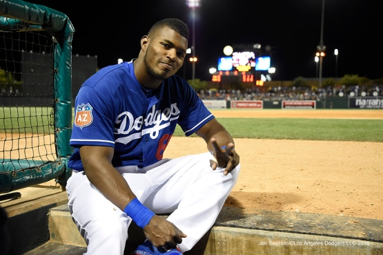 Los Angeles Dodgers Yasiel Puig during game against the San Francisco Giants Friday, March 25, 2016 at Camelback Ranch-Glendale in Phoenix, Arizona
