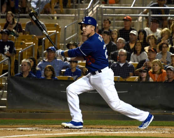 Los Angeles Dodgers Chase Utley gets a hit during game against the San Francisco Giants Friday, March 25, 2016 at Camelback Ranch-Glendale in Phoenix, Arizona