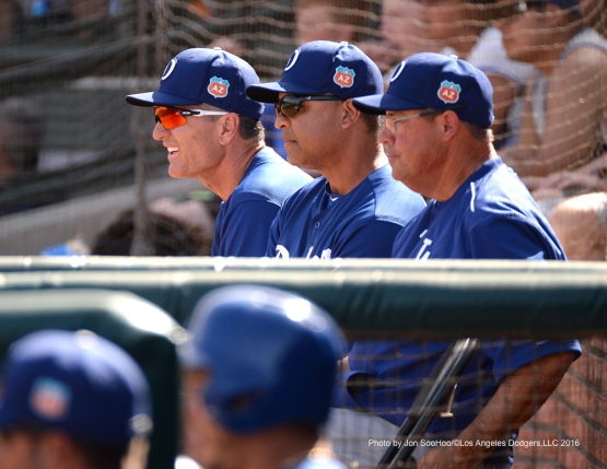 Los Angeles Dodgers Bob Geren, Dave Roberts and Greg Maddux against the Texas Rangers Friday, March 4, 2016 at Surprise Recreation Campus in Surprise, Arizona.