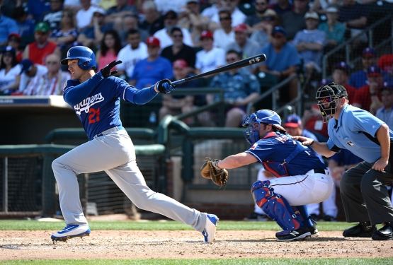 Los Angeles Dodgers Trayce Thompson hits against the Texas Rangers Friday, March 4, 2016 at Surprise Recreation Campus in Surprise, Arizona.