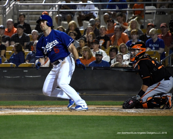 Los Angeles Dodgers Charlie Culbertson gets a hit during game against the San Francisco Giants Friday, March 25, 2016 at Camelback Ranch-Glendale in Phoenix, Arizona