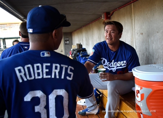 Los Angeles Dodgers Chin-hui Tsao and Dave Roberts during game against the Arizona Diamondback Friday, March 18,2016 at Salt River Fields at Talking Stick