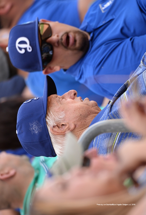 Los Angeles Dodgers Tommy Lasorda watches game against the Texas Rangers Friday, March 4, 2016 at Surprise Recreation Campus in Surprise, Arizona.